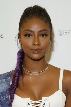 "Justine Skye...Our favorite ""purple unicorn"" wore a beautiful braided do to the NYC edition of Beautycon. Photo by John Lamparski"