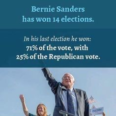 Bernie Sanders has won 14 elections. In his last election he won: 71% of the vote, with 25% of the Republican vote.