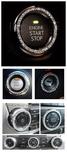 Personality Car Interior Emblem Crystal Ring Sticker,Automotive Parts Start Engine Ignition Button Key /& Knobs Key Ignition /& Knob Bling Ring Unique Women Gift Blue Car Glam Interior Accessory