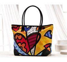Romero Britto Hearts Large Tote Bag w/ Zipper Top New Handbags, Handbags On Sale, Fashion Handbags, Handbags Online, Luxury Handbags, Tote Backpack, Crossbody Bag, Tote Bag, Missoni
