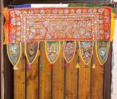 *** OLD FINE EMBROIDERY *SPECIAL* RABARI ETHNIC DOOR VALANCE TRIBAL WALL DECOR TORAN - $61.00 - March 25, 2016 - Mine!!!
