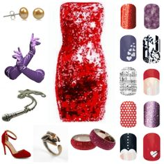 80's cartoon Jessica Rabbit cartoon inspired Jamberry pairing. www.sandytoesandco.jamberrynails.net