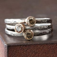 Stackable rings made with conflict-free diamonds. It`s always good to be informed about where the diamonds come from!
