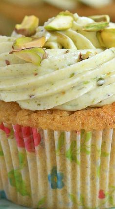 Pistachio Cupcakes with Pistachio Lime Cream Cheese Frosting
