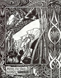 Merlin and Nimue     Artist: Aubrey Beardsley  Start Date: 1893  Completion Date:1894  Style: Art Nouveau (Modern)  Genre: illustration