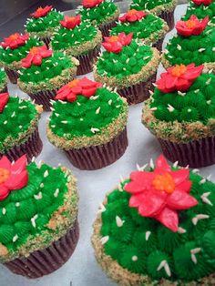 cactus cupcakes Cactus Cupcakes, Succulent Cupcakes, Cactus Cake, Fiesta Theme Party, Taco Party, Fiesta Cake, Themed Cupcakes, Birthday Cupcakes, 80th Birthday