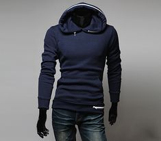 Fashion Solid Color Zipper Embellished Long Sleeves Cotton Blend Hoodie For Men