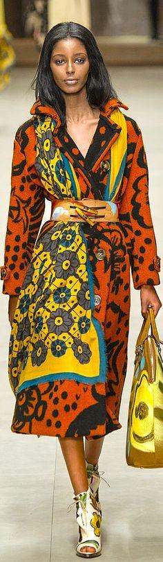 Africa inspired:Burberry Prorsum F/W 2014 - London Fashion Week Colorful Fashion, Love Fashion, High Fashion, Fashion Show, Fashion Design, Fall Fashion, Burberry Prorsum, London Fashion, Runway Fashion