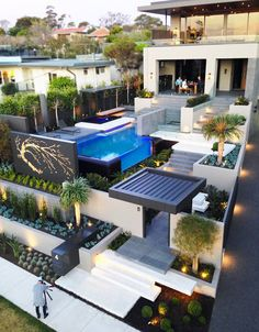 Modern Resort Style Home Landscaping - Melbourne, Australia