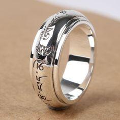 Handmade Silver Om Mani Padme Hum Tibetan Spinning Ring