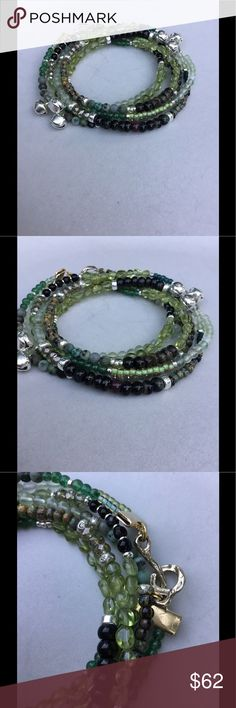 """NEW!🌺Mother Earth Wrap Bracelet For all of my pieces, I pay a great deal of attention to the details and I only use the best materials. This is no exception. I used only genuine, AAA grade:  tourmalines, peridot, African turquoise, New Burma jade, labradorite, and prehnite. Jingle bells are oxidized silver. Silver beads are all fine Sterling silver. The golden bronze hook and eye clasp is artisan made. This will wrap four times around a wrist of 6.5"""" and three times around a wrist of 8""""…"""
