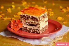 kora orzechowa z brzoskwiniami- imprezowe ciasto - Swiatciast.pl Polish Recipes, Food Cakes, Tiramisu, Cake Recipes, Cheesecake, Sweets, Baking, Ethnic Recipes, Cook