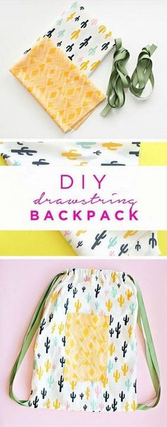 30 Minute Drawstring Fabric Backpack. A quick and simple sewing project for beginners. They make great bags for kids or adults. #fashionsewing, #Sewingtipsforbeginners