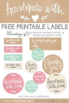 Printable Labels to Kick Up Your Packaging! {Handmade Collection} Free Printable Labels to Kick Up Your Packaging! {Handmade Collection} - Free Printable Labels to Kick Up Your Packaging! Planner Stickers, Printable Planner, Free Printables, Free Planner, Printable Stickers, Printable Lables, Free Printable Tags, Gift Labels, Gift Tags