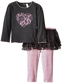 Petit Lem BabyGirls Newborn Flowers Top and Legging Set GreyPink 6 Months ** Be sure to check out this awesome product.