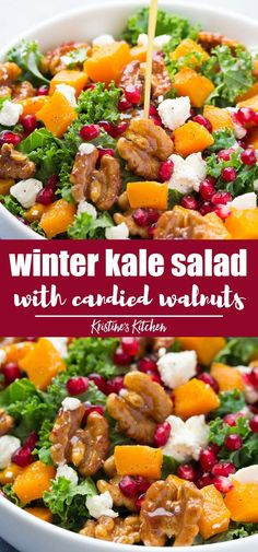 The Best Kale Salad With Butternut Squash, Candied Walnuts And Pomegranate. The Perfect Salad For Your Thanksgiving Or Christmas Dinner Easy To Make, With Homemade Dressing. One Of Our Favorite Healthy Recipes For Fall And Winter Winter Salad Recipes, Christmas Salad Recipes, Salad Recipes For Parties, Kale Salad Recipes, Healthy Recipes, Recipes Dinner, Squash Salad, Easy Salads, Gourmet