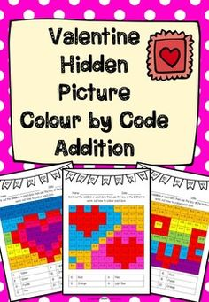 Colour by code addition pictures with a Valentine's day theme