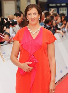 Miranda Hart looking lovely in pink and orange.