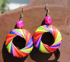 Palm Leaf Earrings Handmade Colorful Boho Hippie by RanchoAlpino