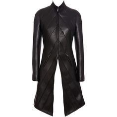 Gareth Pugh Chevron leather coat (€3.450) ❤ liked on Polyvore featuring outerwear, coats, jackets, black, long sleeve coat, real leather coats, genuine leather coat, fitted coat and funnel-neck coat
