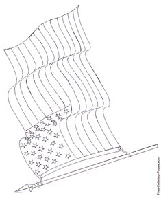 American Flag Coloring Book Page