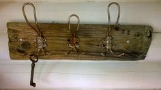 Rustic rack from 80-90 years old hooks.