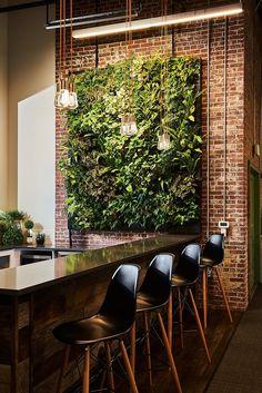 Restaurant Interior Design, Cafe Interior, Office Interior Design, Interior Walls, Interior Decorating, Interior Garden, Interior Plants, Living Green Wall, Indoor Living Wall