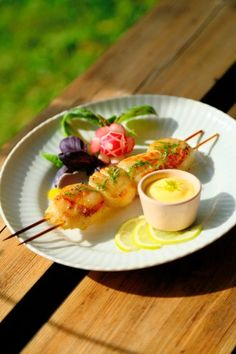"""... in Sweden""""! Scallop Skewers Marinated in Basil Oil, with Lime Aioli"""