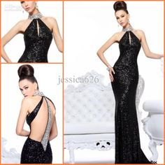 Wholesale Prom Dresses - Buy 2013 Hot Recommend Black Sexy High Collar Sheath Prom Dresses Floor Length Backless Evening Gowns for Party, $138.0 | DHgate
