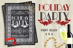 Check out Holiday Party Chalk Flyer by Lucion Creative on Creative Market