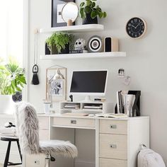 Add more space to display the essentials. The Oval Floating Shelves show off some sleek angles so you can place decor or books to create a space you'll love. Shelves Above Desk, Home Office Shelves, Home Office Design, Home Office Decor, Floating Shelves Bedroom, Teen Furniture, Bedroom Desk, Bedroom Office, Wooden Desk