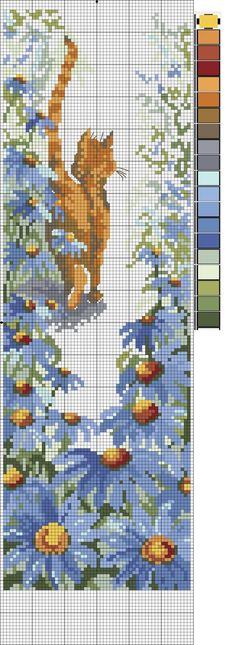 Orange cat tail in the air. Garden with blue flowers. This shows the needlepoint graph.