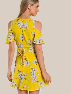 SheIn offers Open Shoulder Flutter Sleeve Surplice Wrap Dress & more to fit your fashionable needs. Stylish Dresses, Cute Dresses, Short Dresses, Summer Dresses, Batik Mode, Fashion Wear, Fashion Dresses, Kimono Outfit, Batik Fashion