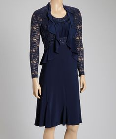 This Navy Lace Ruffle Empire-Waist Dress & Jacket - Women by R&M Richards is perfect! #zulilyfinds