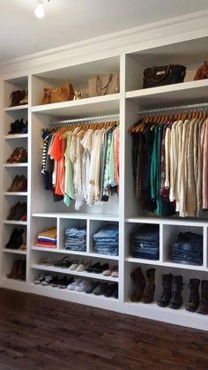 In LOVE with my new closet!!! :) Thanks to my amazing boyfriend. Kitchen Cabinetry, Closet Designs, Closet Organization, Closets, Resurfacing Cabinets, Kitchen Cabinets, Wardrobes, Closet, Kitchen Furniture