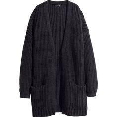 H&M Rib-knit cardigan (2.845 RUB) ❤ liked on Polyvore featuring tops, cardigans, jackets, outerwear, black, long tops, long cardigan, h&m tops, cardigan top and ribbed knit top