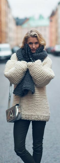 chunky knits and leather gloves ♥✤ | KeepSmiling | BeStayClassy