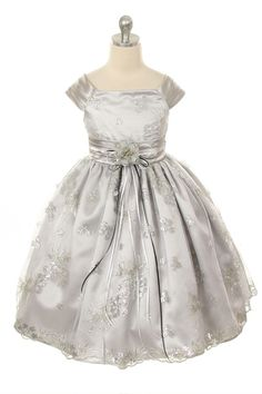 MB_247SV - Flower Girl Dress Style 247 - Embroidered Satin and Sequin Dress - Embroidered Dresses - Flower Girl Dress For Less