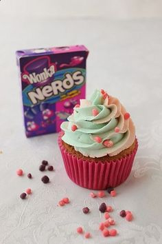 Cotton Candy Cupcakes with Nerds Filling