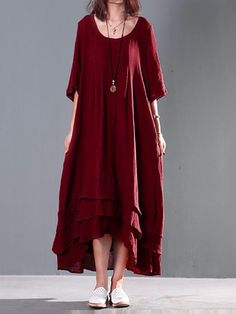 Women Double Layers Casual Dress Loose Cotton Maxi Dresses - Banggood Mobile