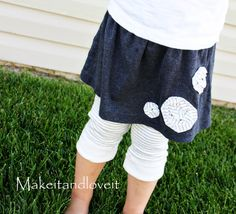 Do you have an old shirt or two? How about turning them into a brand new skirt/leggings combo for a little girl? It might make you really excited.