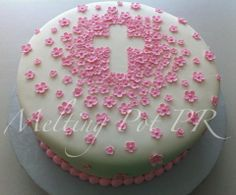 primera comunion or girl baptism cake First Communion Cakes, First Holy Communion, Fancy Cakes, Cute Cakes, Religious Cakes, Confirmation Cakes, Love Cake, Fondant Cakes, Cupcake Cookies