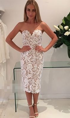 Special Affair White Beige Lace Spaghetti Strap Bustier V Neck Bodycon Midi Dress