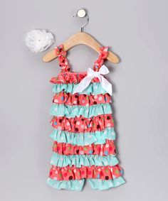 How cute is this? Take a look at this Coral & Aqua Polka Dot Romper & Flower Clip - Infant & Toddler by Zuzu's Petals on #zulily today!