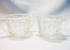 Pressed Glass sugar and creamer set clear by RoseArborVintage, $14.00