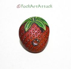 Small Red Strawberry Painted Pebble Fridge Magnet by RockArtAttack. Painted by Lefteris Kanetis !