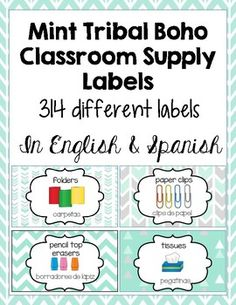 Classroom Supply Labels English and Spanish... by Creative Kinderoos   Teachers Pay Teachers