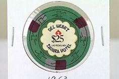 1963 DEL WEBB'S SAHARA CASINO VINTAGE $25 LAS VEGAS GAMING CHIP / 10th ISSUE