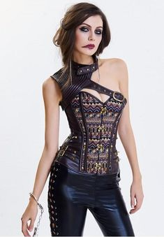 Black//White Goth Overbust Corset Dress Lace Embroidery Skirt Bustier Dress TB Z
