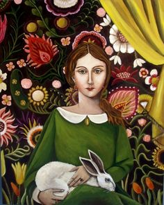 The Bunny Sitter - New Original Painting by artist Catherine Nolin | DailyPainters.com♥✿♥